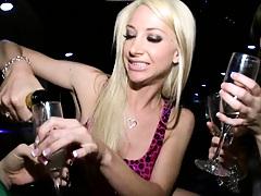 Hot lesbian babes having a few drinks