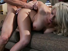 Big tits milf gets face first fucked into a couch