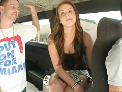 Bangbus driving convincing a girl to take off clothes