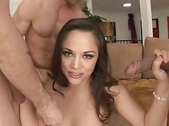 Brunette small tits Kristina Rose in group sex gang bang with deep throat
